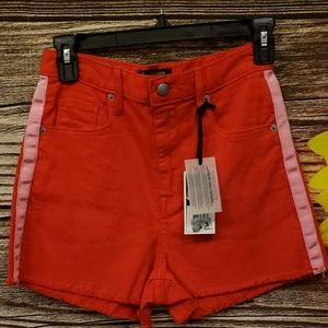 Juicy couture black label red/pink strip shorts